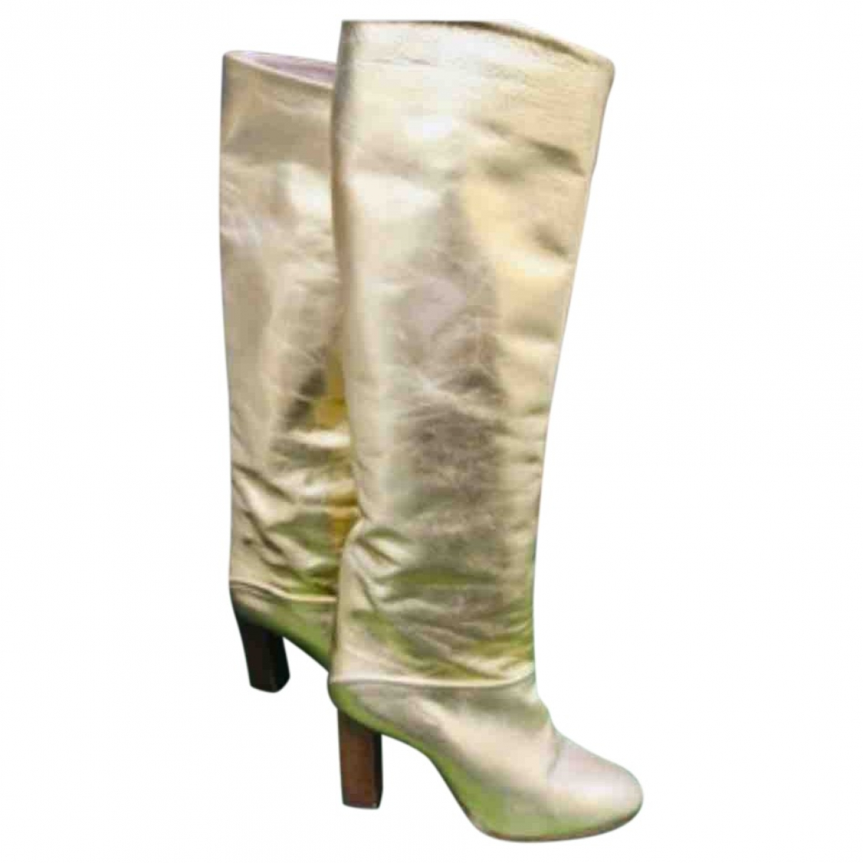 - Bottes   pour femme en cuir - dore