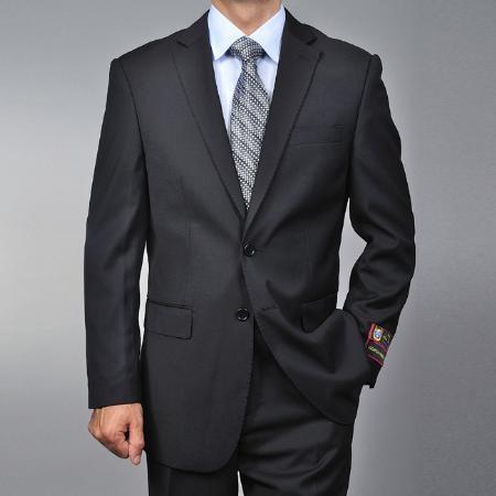 2 Button Black Suit Mens Cheap