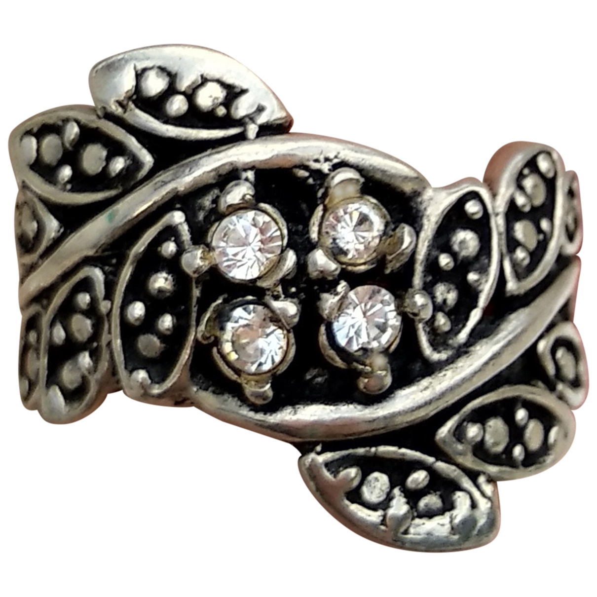 Non Signe / Unsigned Motifs Floraux Ring in  Silber Silber