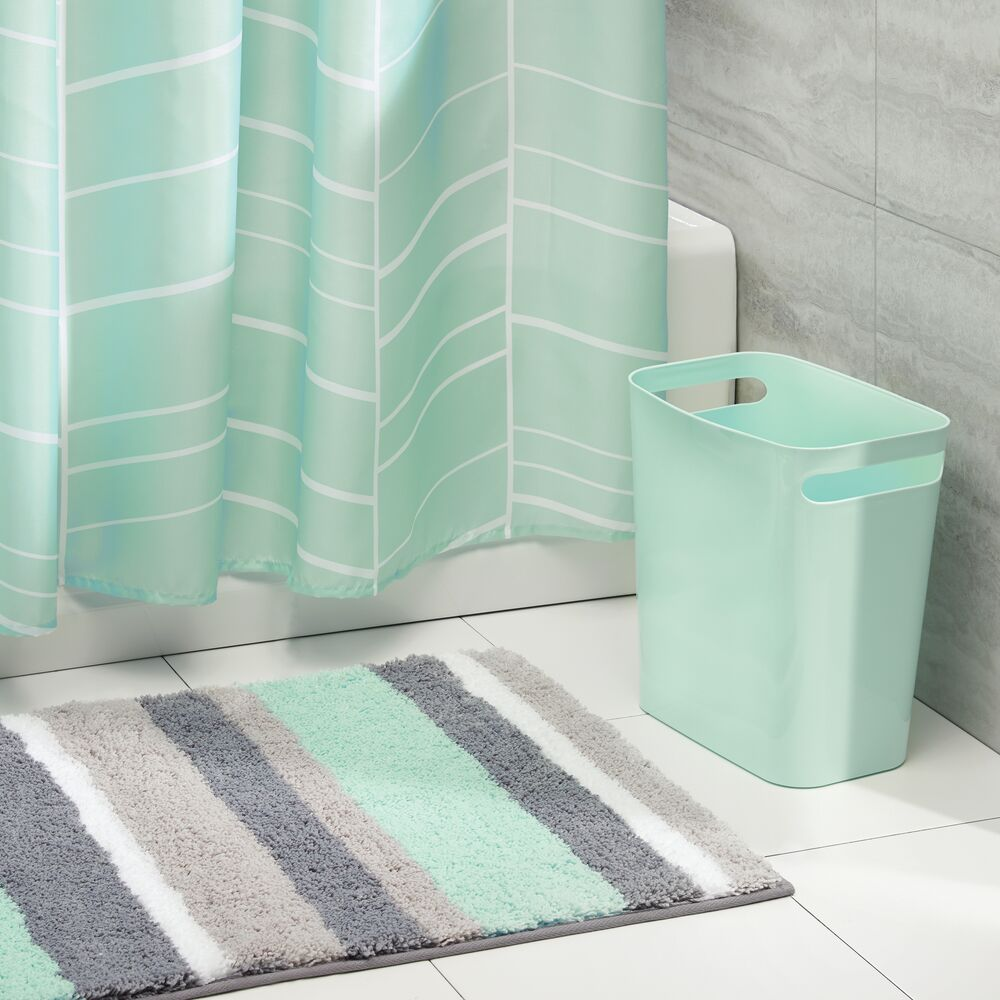 Bathroom Shower Curtain, Bath Mat + Waste Can Combo Set in Mint, by mDesign