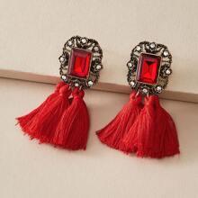 1pair Rhinestone Decor Tassel Decor Drop Earrings