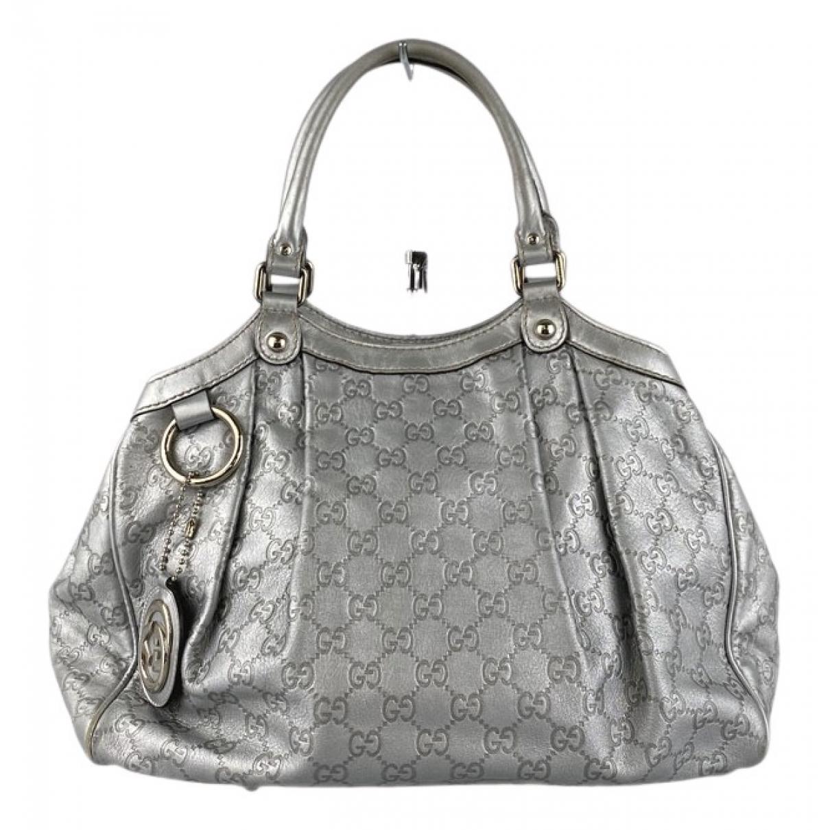 Gucci Sukey Silver Leather handbag for Women N