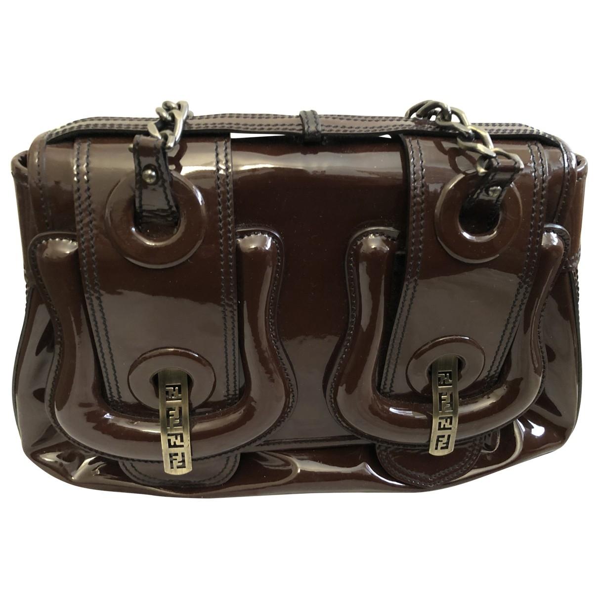 Fendi B Bag Handtasche in  Braun Lackleder