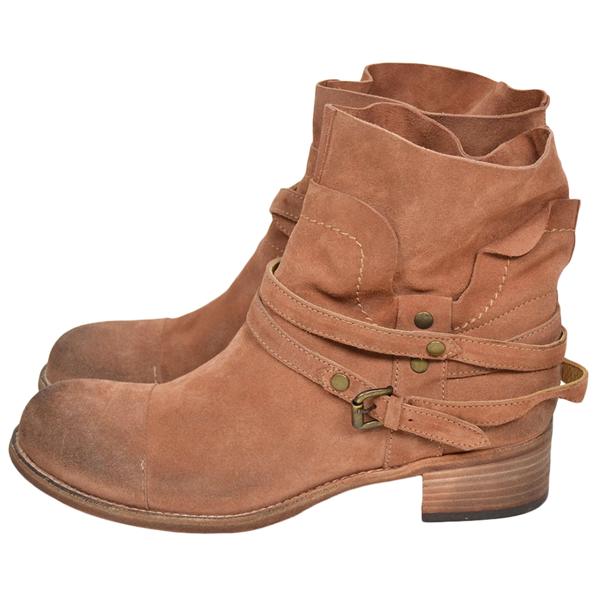 Non Signé / Unsigned \N Pink Suede Ankle boots for Women 40 EU