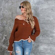 Drop Shoulder V Neck Contrast Binding Sweater