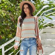 Boat Neck Rib Knit Striped Sweater