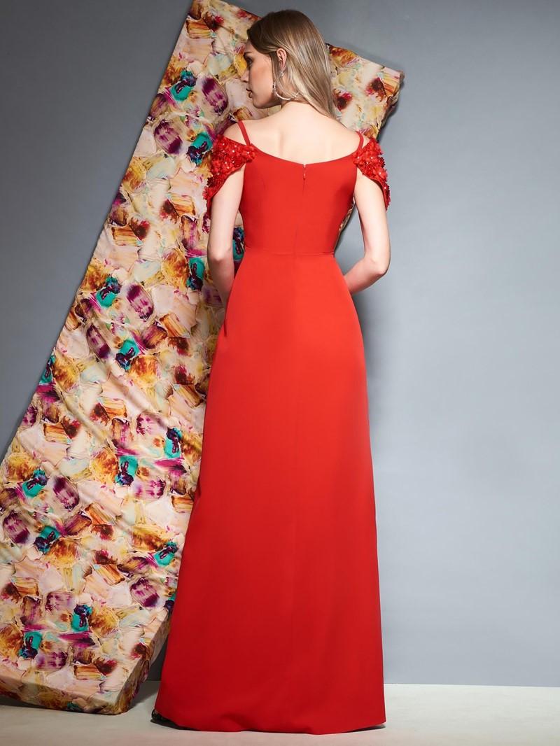 Ericdress Sheath V Neck Beaded Cap Sleeve Red Evening Dress