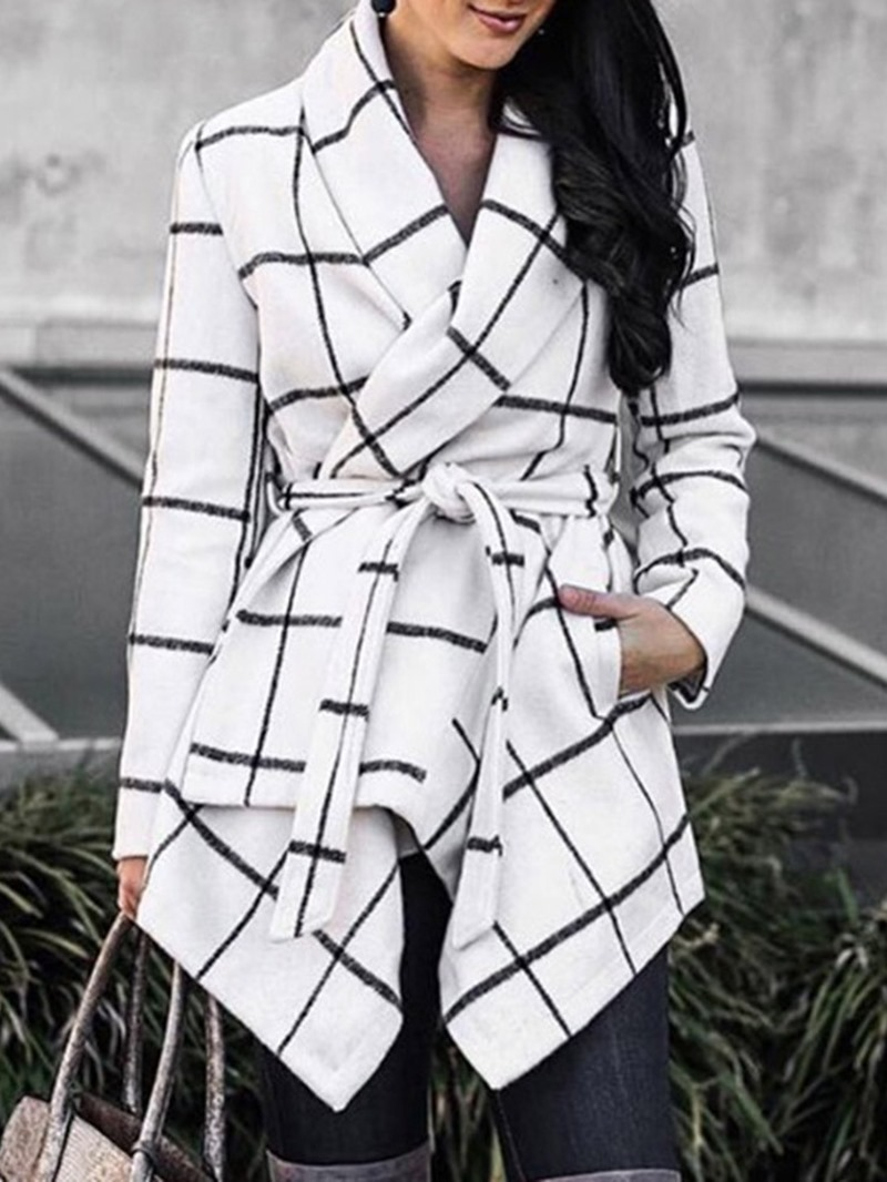 Ericdress Belt Loose Lace-Up Lapel Mid-Length Overcoat