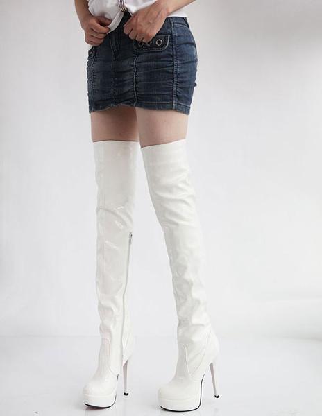 Milanoo Botas altas mujer blanco  Charol PU de tacon de stiletto de puntera redonda 13cm Primavera Invierno 3cm para ocasion informal Romantica