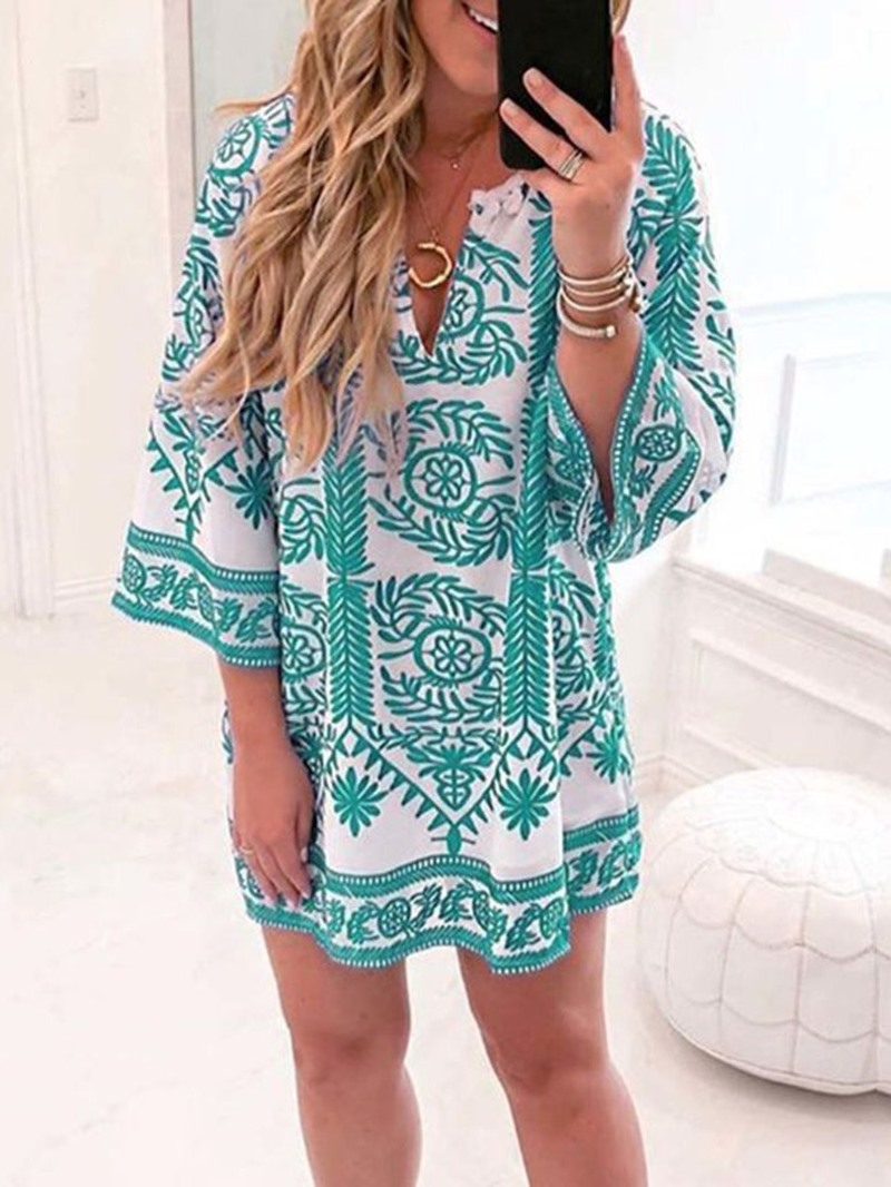 Ericdress V-Neck Print Above Knee Straight Casual Dress