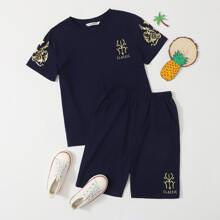 Boys Gold Print Embroidered Detail Tee & Shorts Set