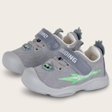 Baby Boy Letter Graphic Velcro Strap Knit Sneakers