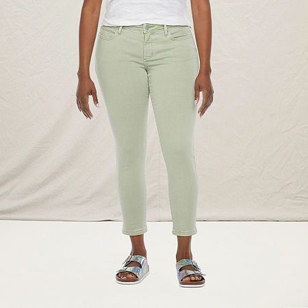 a.n.a-Tall Womens Mid Rise Skinny Ankle Jean, 10 Tall , Green