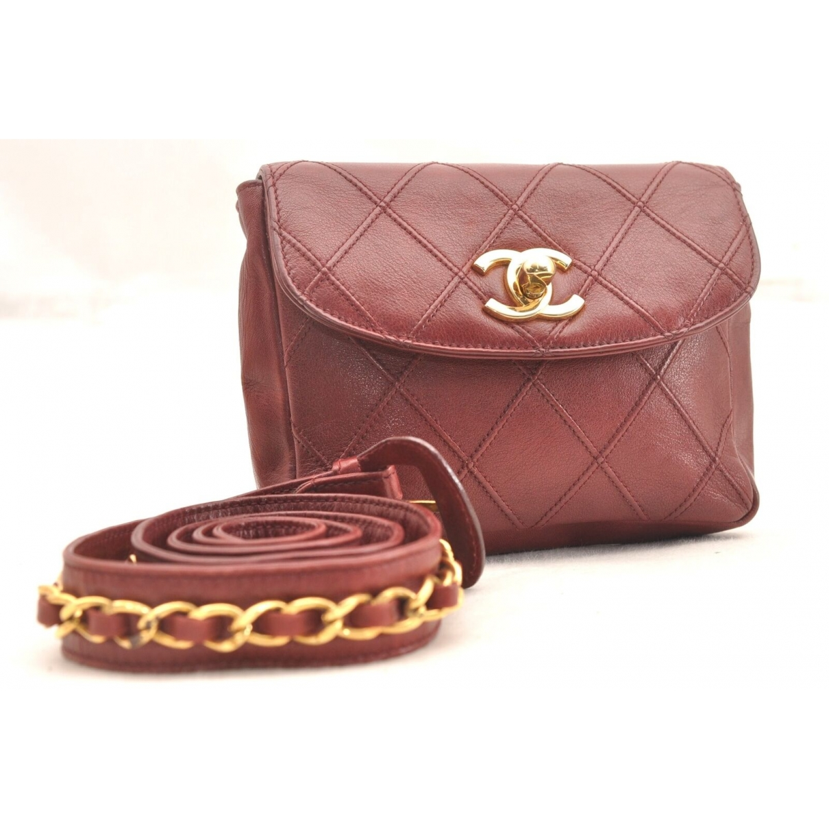 Chanel \N Burgundy Leather Clutch bag for Women \N