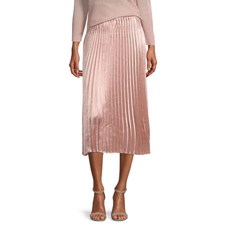 Worthington Womens High Waisted Midi Pleated Skirt, Petite Large , Pink
