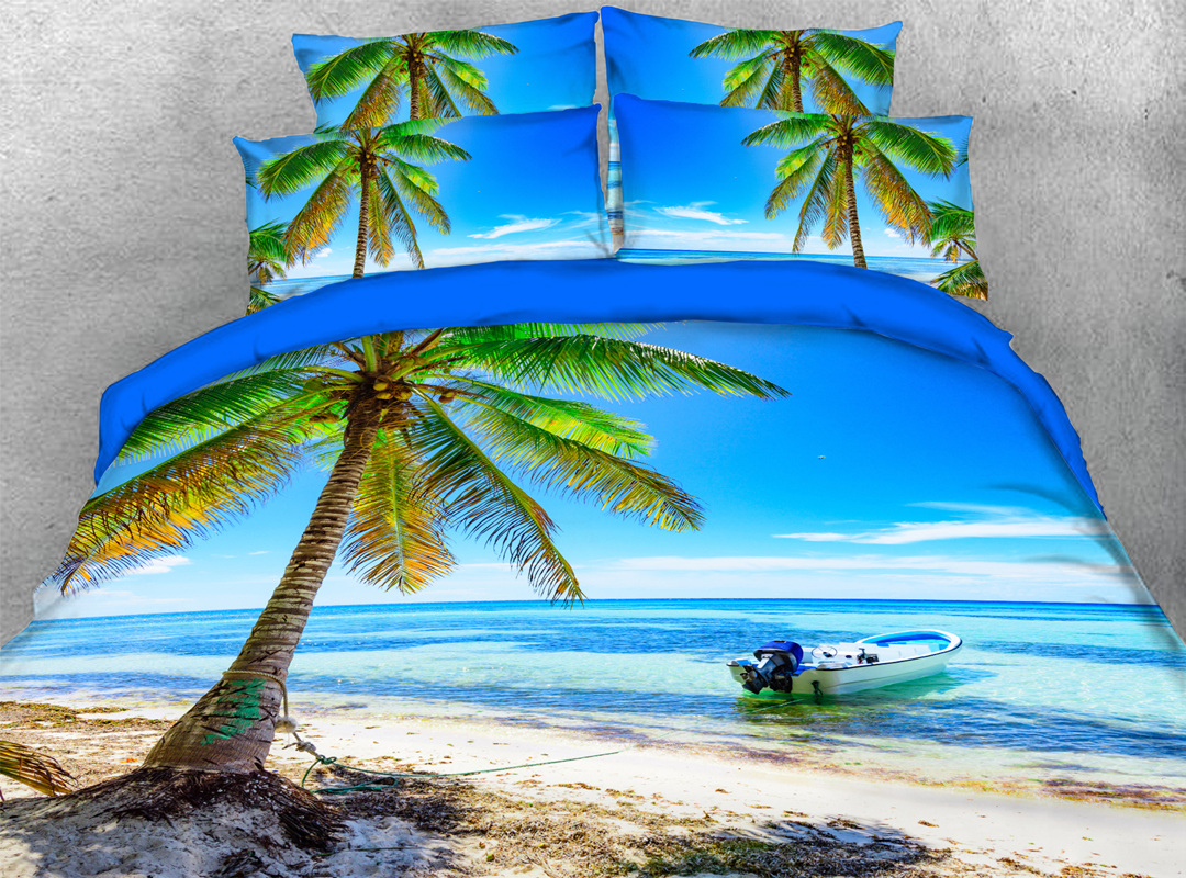 3D Palm Tree and Beach 4-piece No-fading Soft Bedding Sets Durable Scenery Zipper Duvet Cover with Non-slip Ties