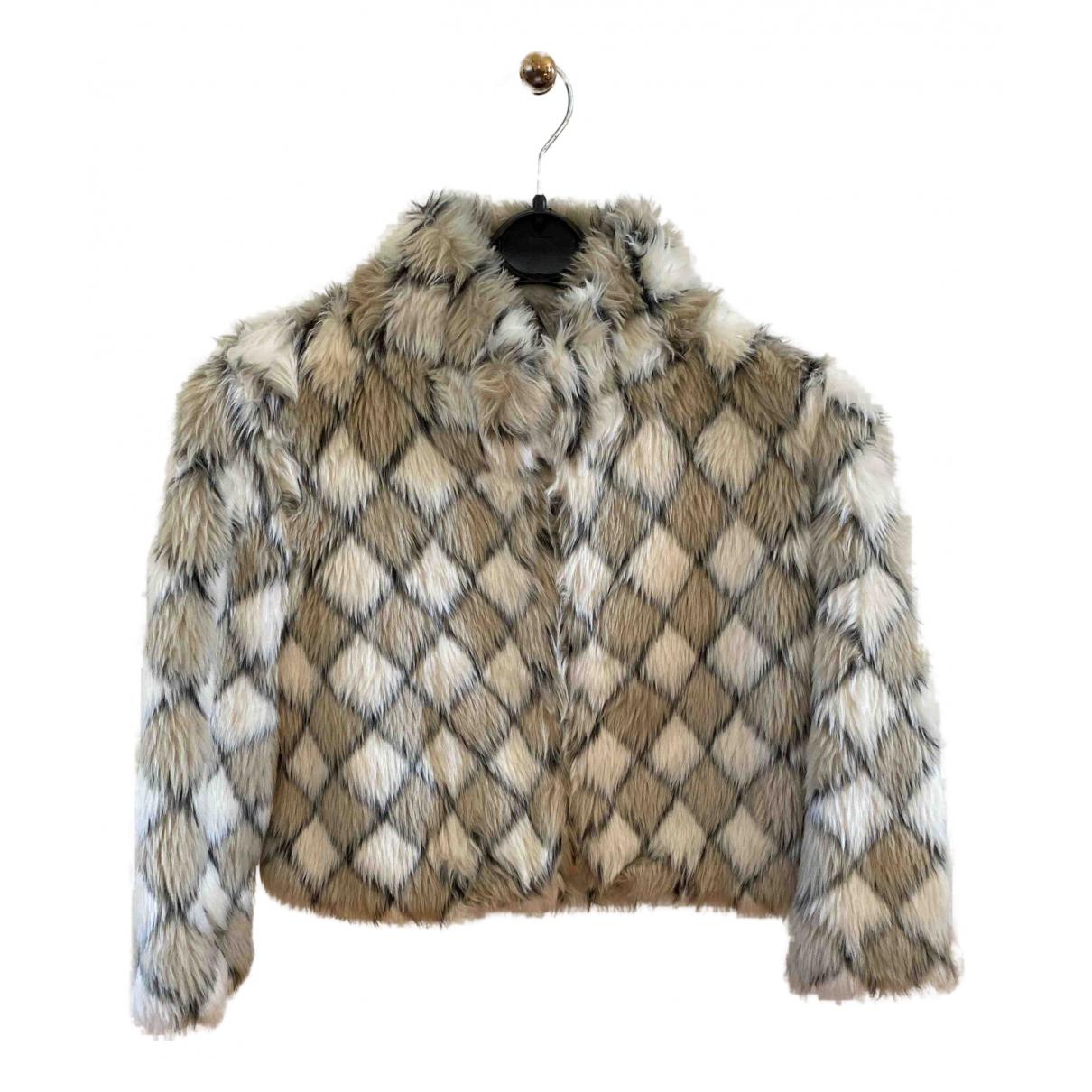- Manteau   pour femme en fourrure synthetique - multicolore