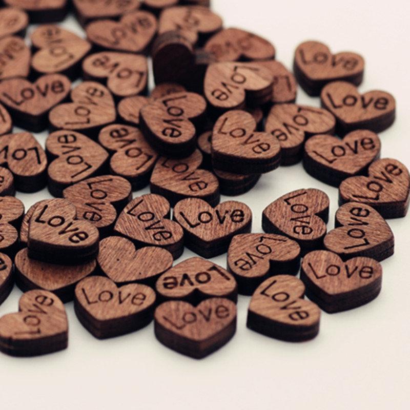 100Pcs Love Retro Button Wooden Button No Hole Heart-shaped DIY