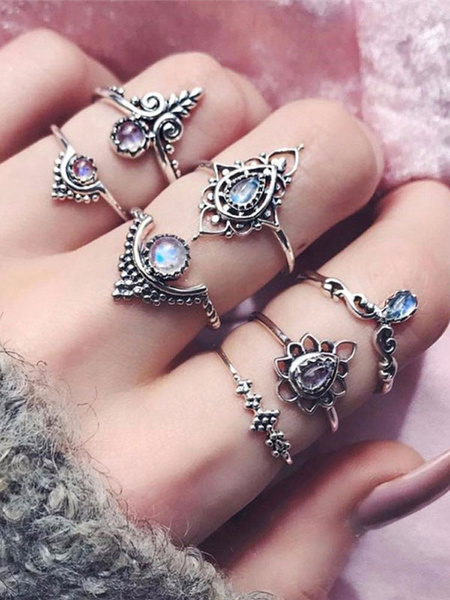 Milanoo Silver Knuckle Rings Ethnic Style Embossed Hollow Out Gems 7 Pieces Ring Set