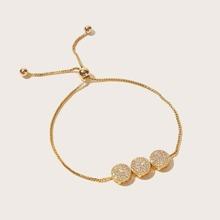 Glitter Round Decor Chain Bracelet 1pc