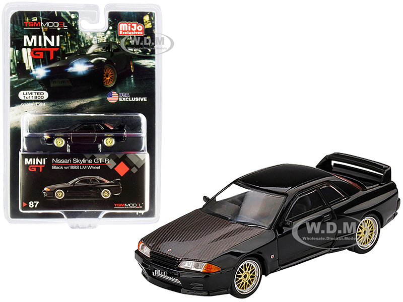 Nissan Skyline GT-R (R32) RHD (Right Hand Drive) Black with BBS LM Wheels and Carbon Hood Limited Edition to 1800 pieces Worldwide 1/64 Diecast Model