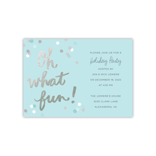 20 Pack of Gartner Studios® Personalized Oh What Fun Flat Holiday Invitation in Sea Breeze | 5