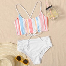 Stripe Lace-up Back Bikini Swimsuit