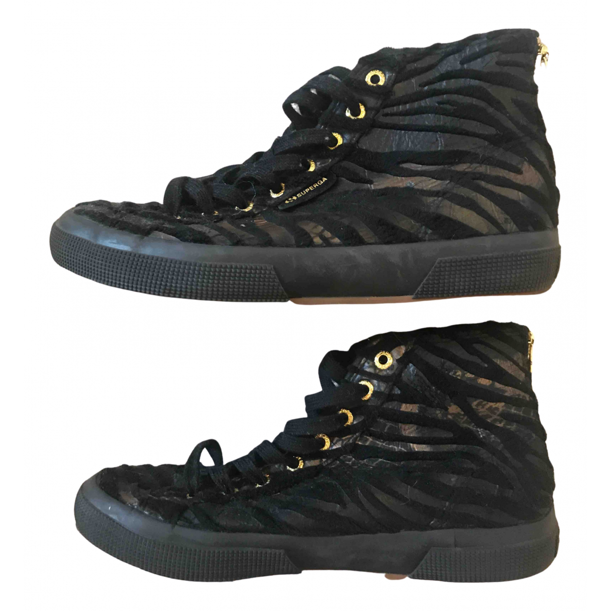 Superga N Black Rubber Heels for Women 39 EU
