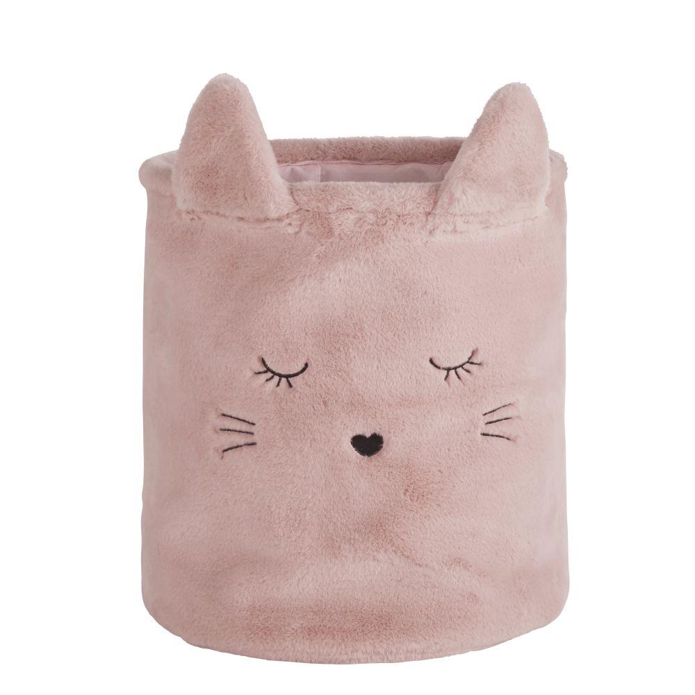 Korb Katze, rosa und goldfarben