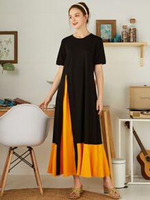 Contrast Godet Ruffle Hem Dress