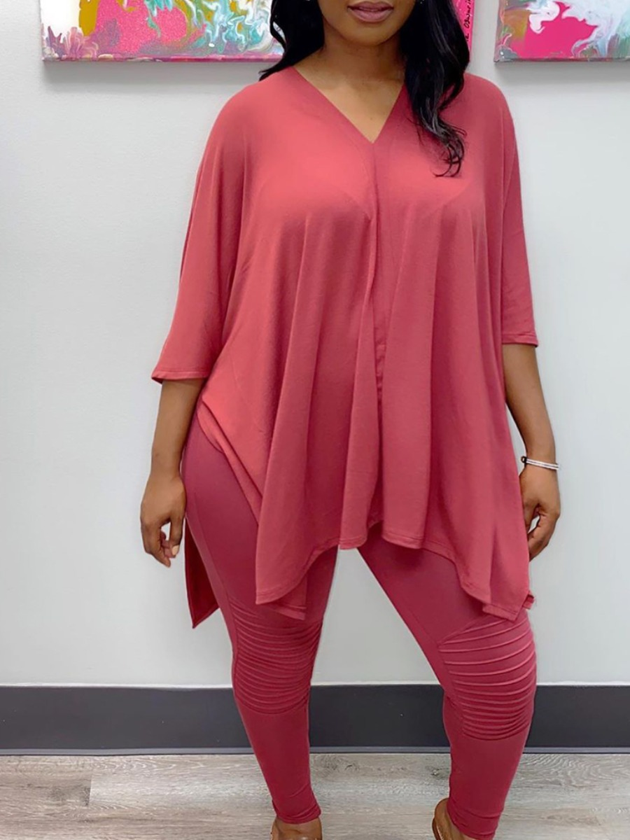 LW Lovely Casual V Neck Basic Pink Plus Size Two-piece Pants Set