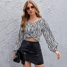 Lantern Sleeve Twist Front Zebra Stripe Crop Top