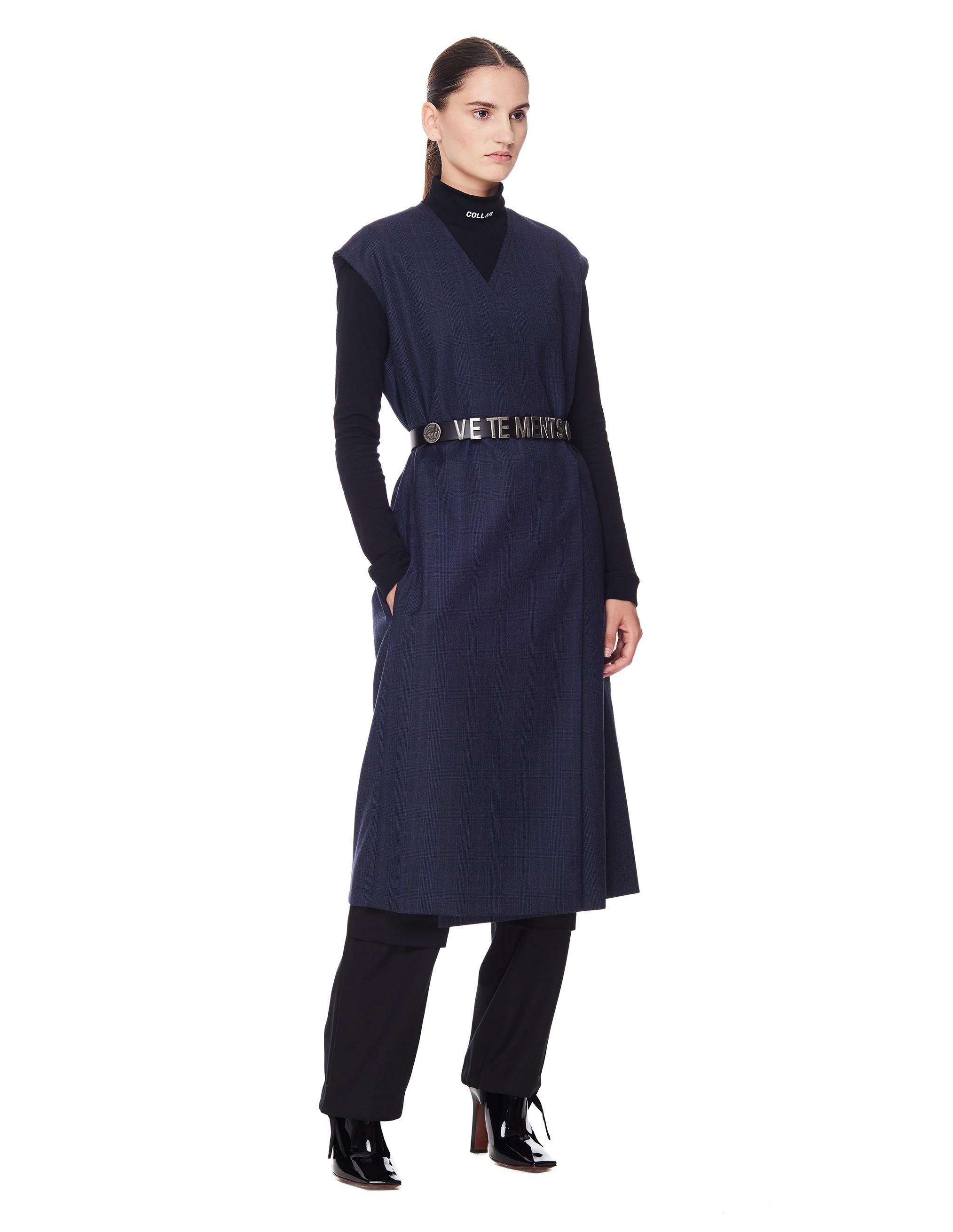 Vetements Navy Blue Wool Sleeveless Coat