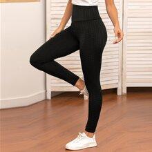 Leggings de cintura ancha con textura