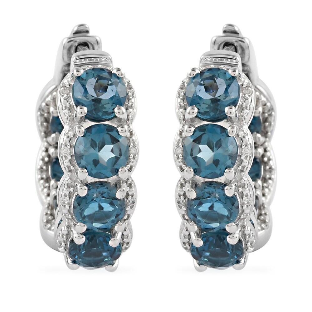 Sterling Silver Blue Topaz White Zircon Hoops Hoop Earrings Ct 8.8 (Blue - Topaz - Blue)