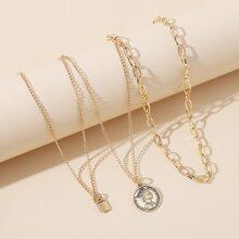 3pcs Metal Lock & Coin Pendant Necklace