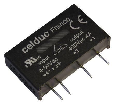 Celduc 10 A Solid State Relay, Zero Cross, PCB Mount, Thyristor, 600 V ac Maximum Load