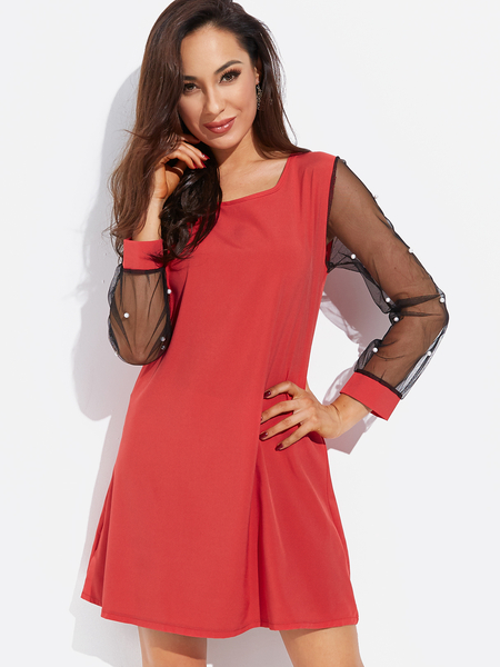 Yoins Red Round Neck Long Sleeves See Through Mesh Dress