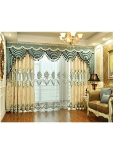 Beige Pattern Chenille European Style Sheer Curtain