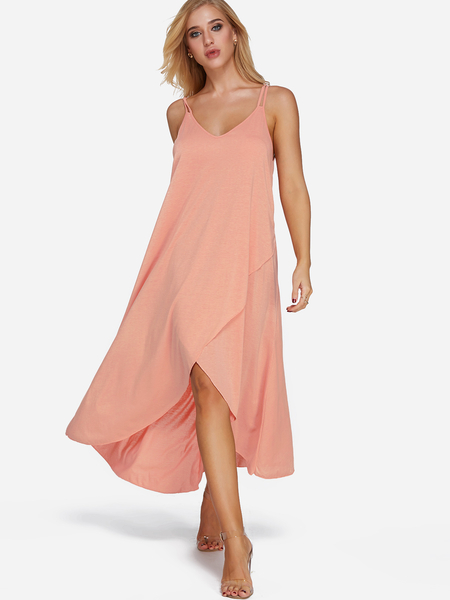 Yoins Pink Backless V-neck Sleeveless Irregular Hem Beachwear Dress