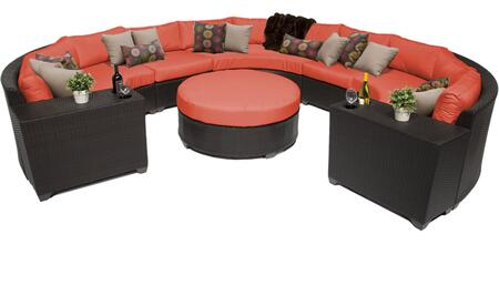 Barbados BARBADOS-08g-TANGERINE 8-Piece Wicker Patio Set 08g with with 5PC Curced Sectional  2 Cup Tables and 1 Coffee Table - Wheat and Tangerine