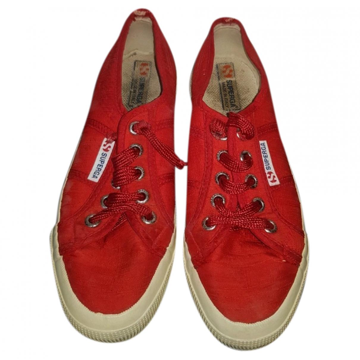 Superga - Baskets   pour femme en cuir - rouge