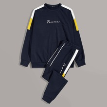 Guys Contrast Sideseam Letter Pullover and Joggers Set