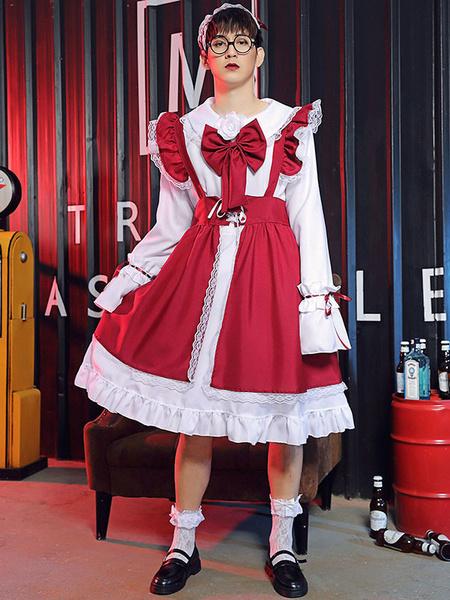 Milanoo Cross Dresser Lolita OP Dress Long Sleeves Lolita Dresses Outfit