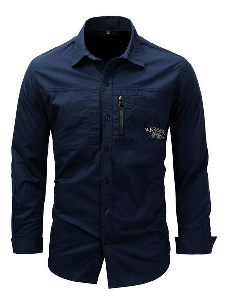 Milanoo Men\'s Casual Shirt Turndown Collar Long Sleeve Oversized Khaki Shirts