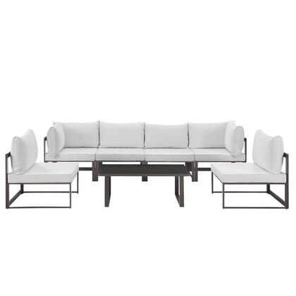 Fortuna Collection EEI-1729-BRN-WHI-SET 7-Piece Outdoor Patio Sectional Sofa Set with 2 Corner Sections  4 Center Sections and Coffee Table in Brown