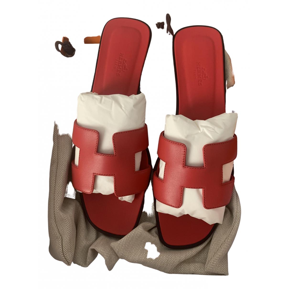 Hermes - Sandales Oran pour femme en cuir - rouge