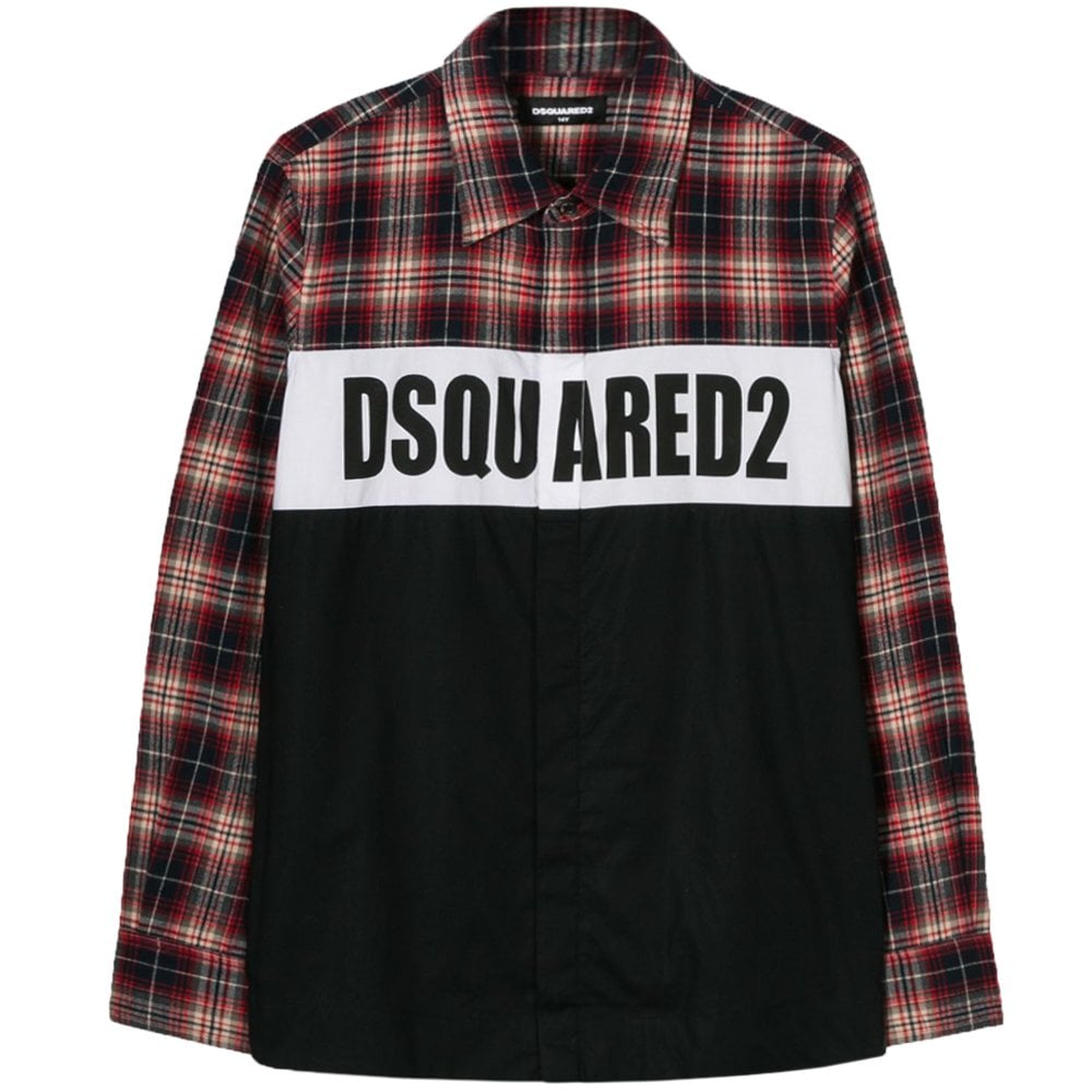 DSquared2 Kids Chequered Logo Shirt Colour: BLACK, Size: 10 YEARS
