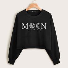 Drop Shoulder Letter & Moon Print Crop Pullover