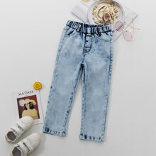 Toddler Girls High Waist Straight Leg Jeans